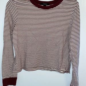 Forever 21 striped, long sleeve, cropped shirt